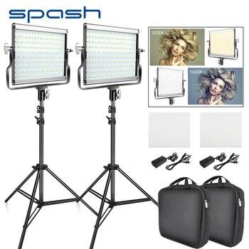 Spash L4500 2 juegos de vídeo de luz LED con trípode bicolor 3200 K-5600 K CRI95 fotografía iluminación foto lámpara luz para estudio de vídeo