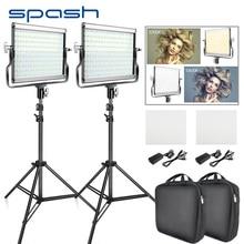 Spash l4500 2 conjuntos de luz de vídeo led com tripé bi color 3200k 5600k cri95 fotografia iluminação foto lâmpada luz para estúdio de vídeo