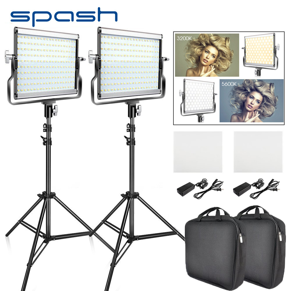 spash L4500 2 Sets LED Video Light with Tripod Bi-color 3200K-5600K CRI95 Photography Lighting Photo Lamp Light for Video Studio gvm 520s b led video light with battery cri97 3200k 5600k for video making photography lighting and location shooting panel