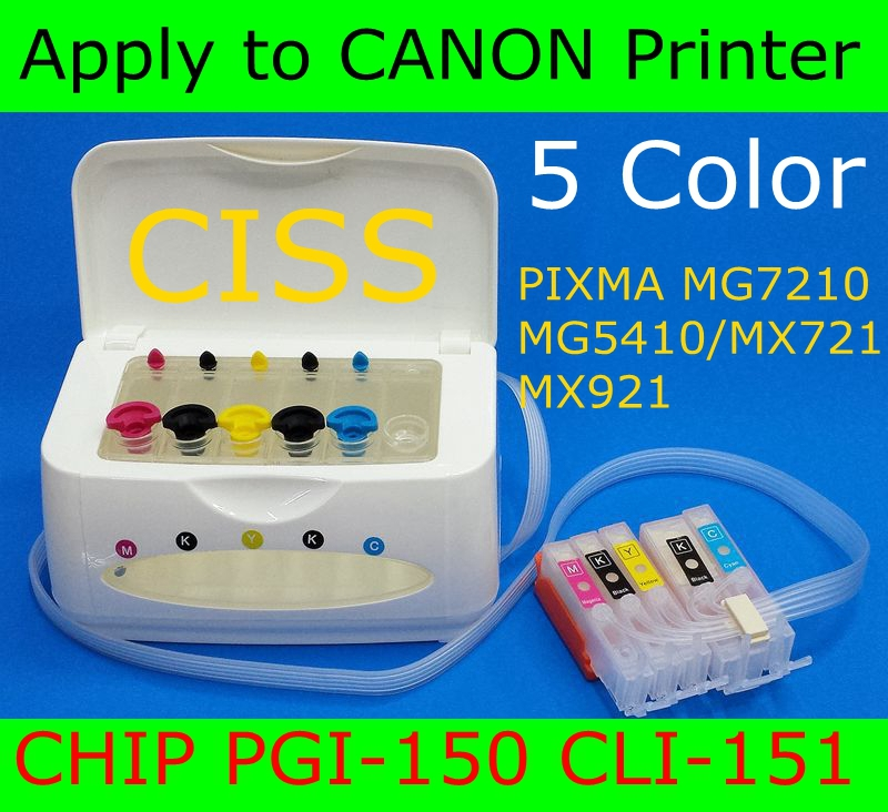 5 Color CISS For ARC CHIP PGI-150 CLI-151 apply to Printer PIXMA IP7210/ MG5410/ MX721/ MX921 Continuous Ink Supply System