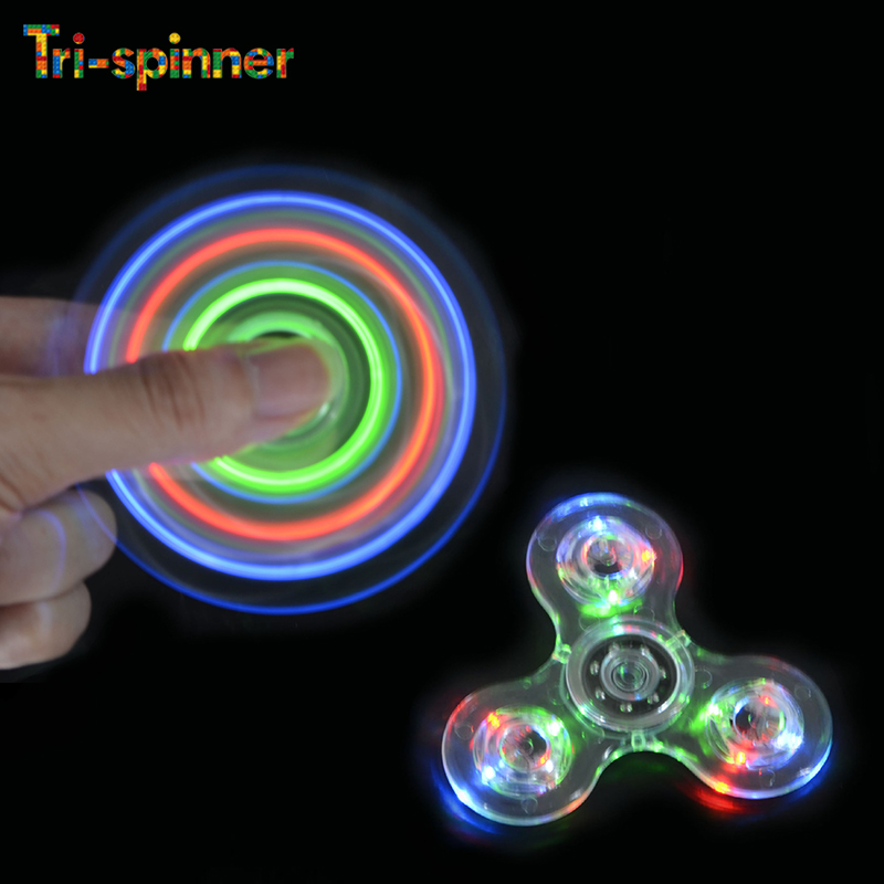 Tri Spinner Transparent LED Light Fidget Hand Spinner Crystal Plastic EDC Switch Finger anti stress