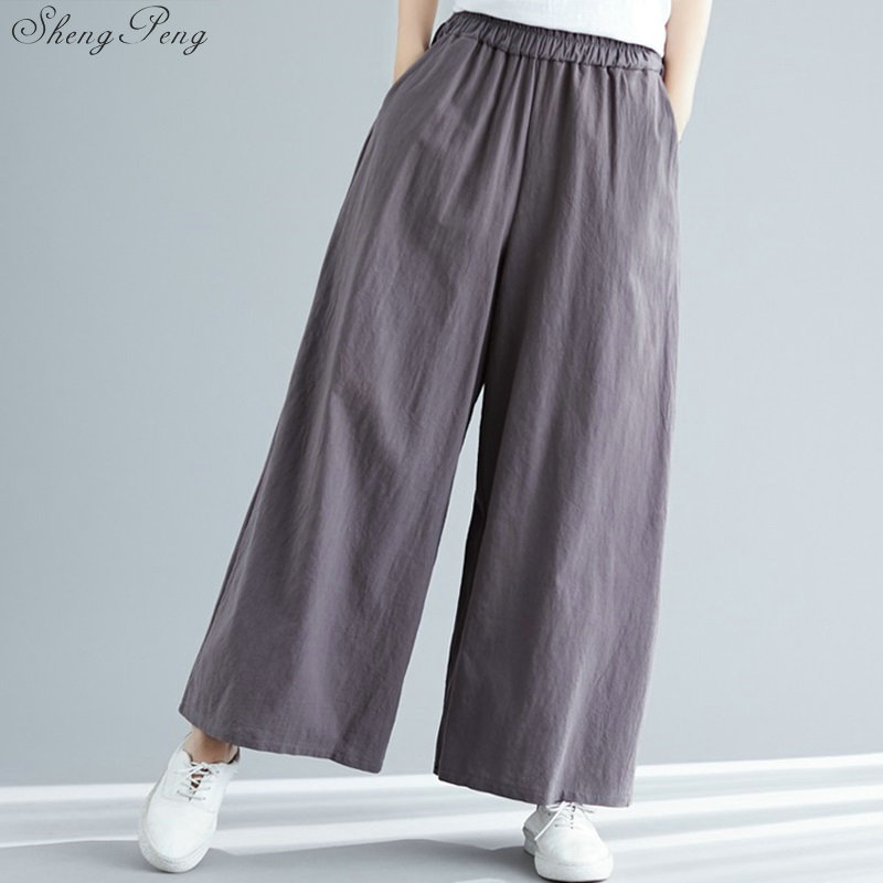 Linen Pants Women Linen Clothes For Women Elastic Waist Comfortably Solid Wide Leg White Linen Pants Free Size V1445