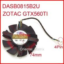 DASB0815B2U DC12V 0.6A 74mm 69x56x45mm 4wire 4 Broches Pour ZOTAC GTX560TI Carte Graphique Refroidisseur Ventilateur de refroidissement