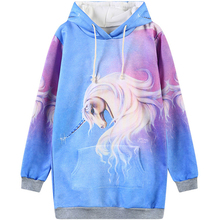 Harajuku 3D Print Galaxy Unicorn Horse Sweatshirts Fashion Long sleeve with hat men Women Hoodies Cartoon Hoody Hooded Pullover