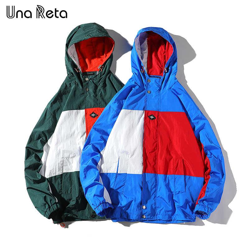 ウナ Reta 男ジャケット新着ストリートジャケットトラックスーツカジュアルメンズコートカラーステッチヒップホップ恋人ジャケットパーカー
