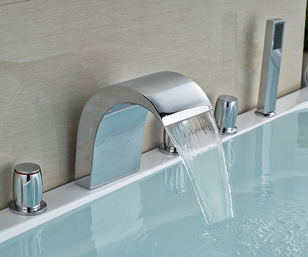 Brand New Waterfall Widespread Bath Tub Faucet Set Deck Mount 5 ...