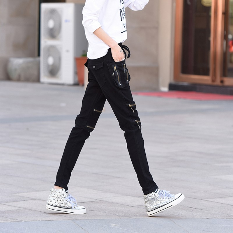Moda Lápiz De Slim Pantalones as Harem Mujer Coreano As Damskie Verano 2019 Picture Picture Cremalleras Fit Falso Spodnie Casual The wqPtxIP