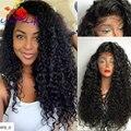 Fibra Resistente Ao Calor japonês Longo Preto Encaracolado Dianteira Do Laço Sintético perucas Black & Brown Afro Crespo Encaracolado Dianteira Do Laço Sintético peruca