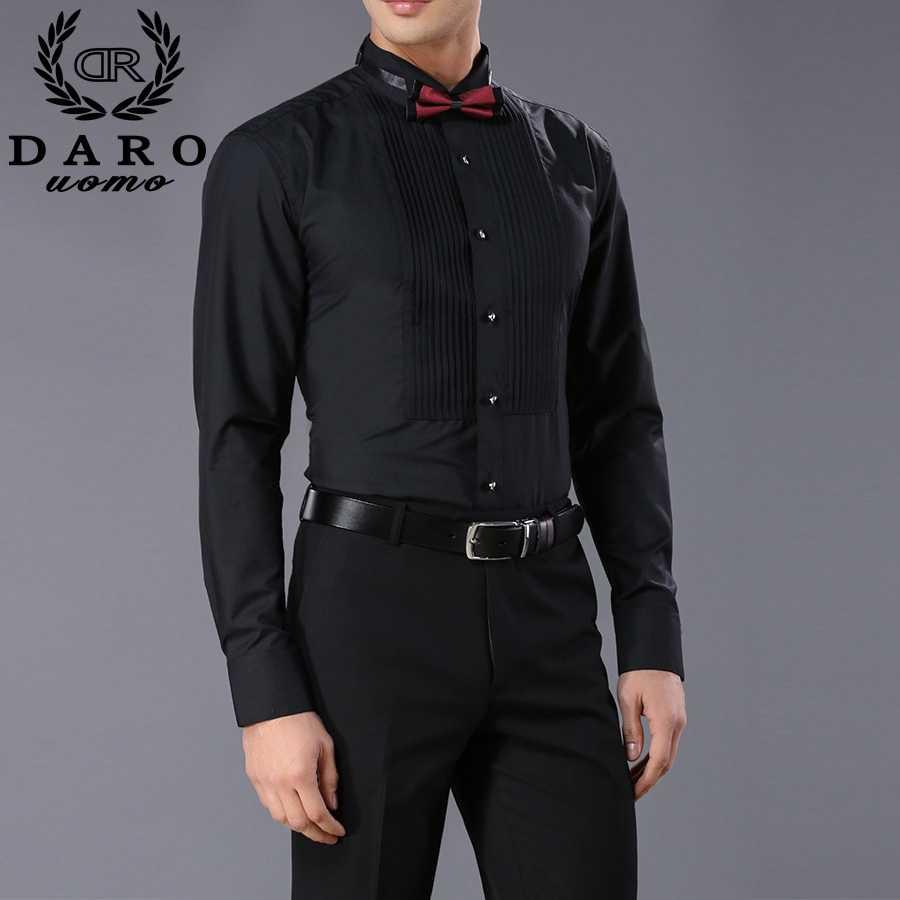 新着ファッションコットンメンズシャツ長袖純粋な色の男性タキシードシャツ DARO883 camisas やつ