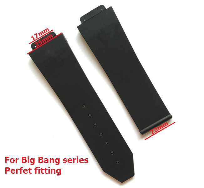 Watch accessorie Silicone Strap For Hublot for BIG BANG Men Watchbands 25*17mm Belt watch band with logo stainless buckle flat