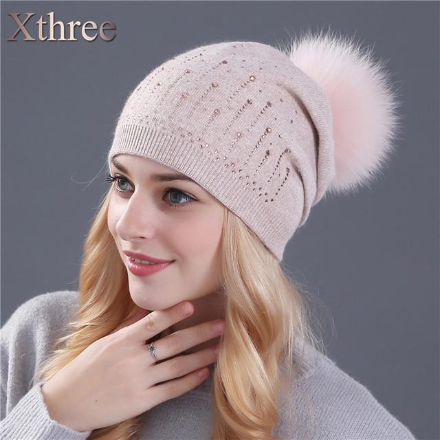 Xthree gorros de lã chapéu feito malha chapéu do inverno para as mulheres de pele de coelho real mink e fox fur poms do pom Skullies chapéu meninas chapéu feminino