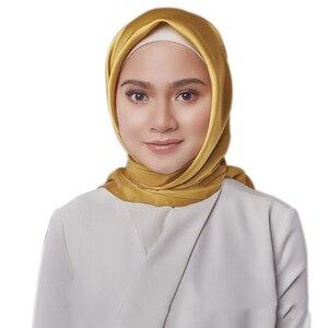 Image 3 - 黒女性の広場シルクスカーフラップ秋冬 Sjaal 高級大型サテンスカーフイスラム教徒のヘッドスカーフ 90*90 センチメートル