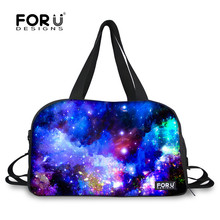 FORUDESIGNS Galaxy Women's Men's Gym Travel Duffle Bags Cool Universe Pattern Sport Tote Shoulder Bags for Men Outdoor