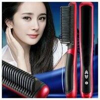 Pro LCD Heating Electric Ionic Fast Safe Hair Straightener Anti Static Ceramic Straightening Brush Comb Gold
