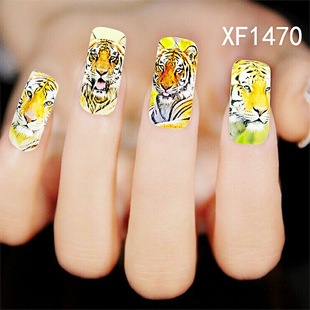 1 Sheet Hot sales Women Leopard Water Transfer Stickers Nail Art Tips Feather Decals nail art tools free shipping  XF1470