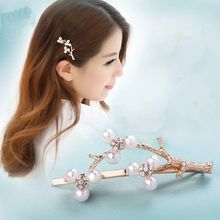 1PC Fashion Crystal Hairpin Silver Golden Pearl Branch Hair Clips Accessories for Women Girls Drop Shipping