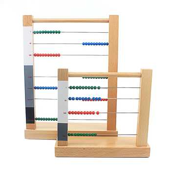 Toddler Wooden Montessori Math Toy Beads Abacus Toy Computing Rack Cent Ten Hundreds Housands Beads Toys for Children Boys Girls