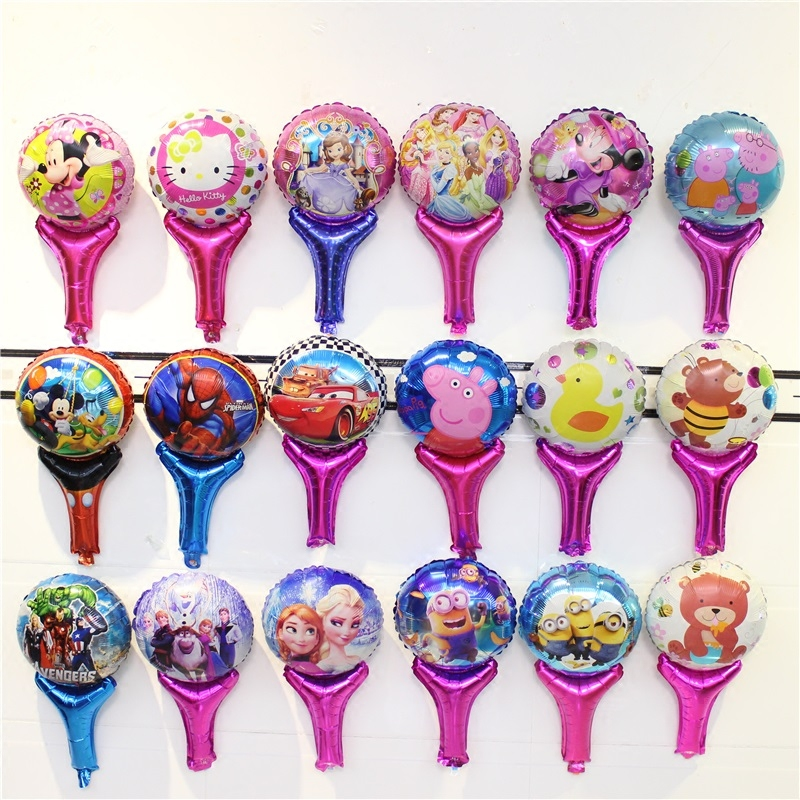 KUAWANLE 50pcs/lot Cartoon <font><b>Princess</b></font> Heros Pig Minion Cheer Holding Sticks Foil Air Balloons Birthday <font><b>Party</b></font> Supplies Decoration image
