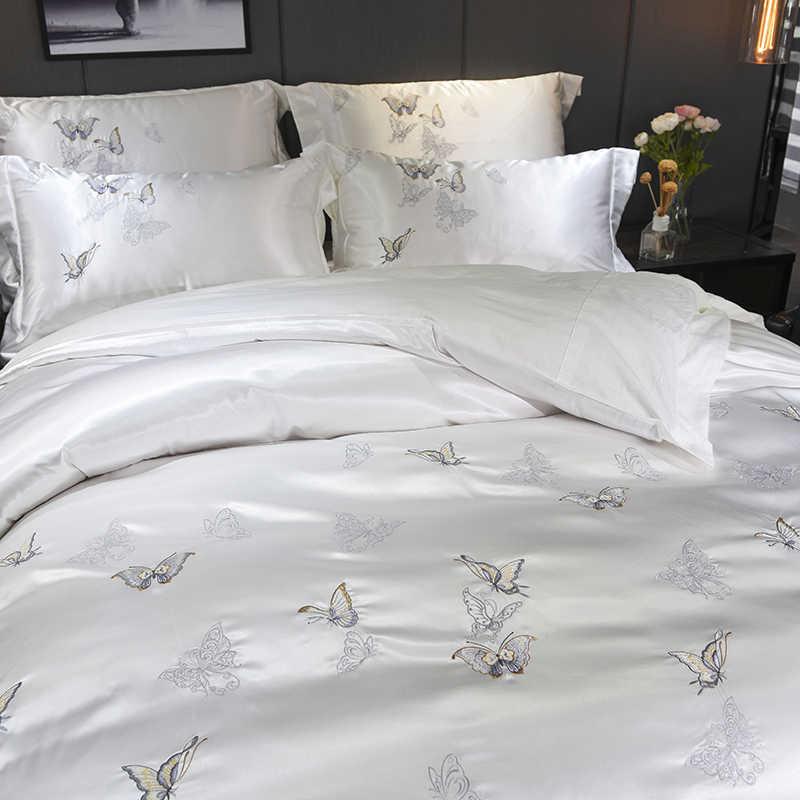 Белый Серебряный Шелковый хлопок Роскошные набор постельного белья с рисунком бабочек 4 шт. queen King Размеры постельный комплект вышивка набор пододеяльников для пуховых одеял