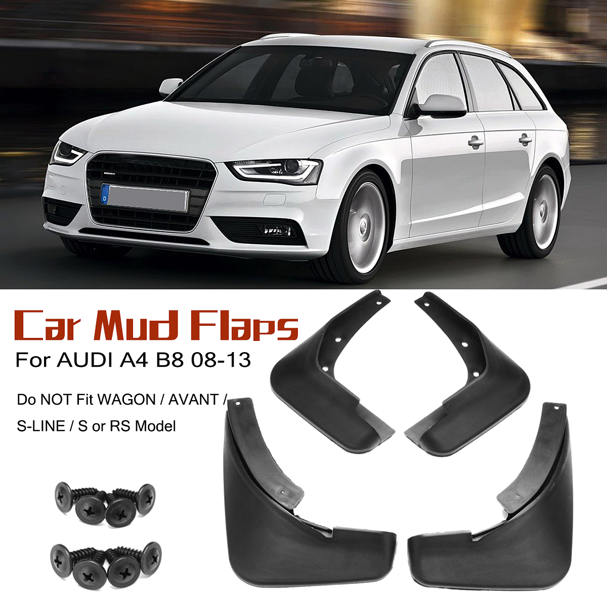 4 adet Araba Çamurluk Audi A4 B8 2008 2009 2010 2011 2012 2013 Çamur Flaps Splash Muhafızları Oto Çamurluk çamurluk Aksesuarları