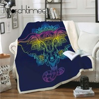 Indian Elephant Lotus Floral Blanket for Beds Sofa Flannel Fleece Sheet Crystal Velvet Front and Fuzzy Sherpa Back Throw Blanket