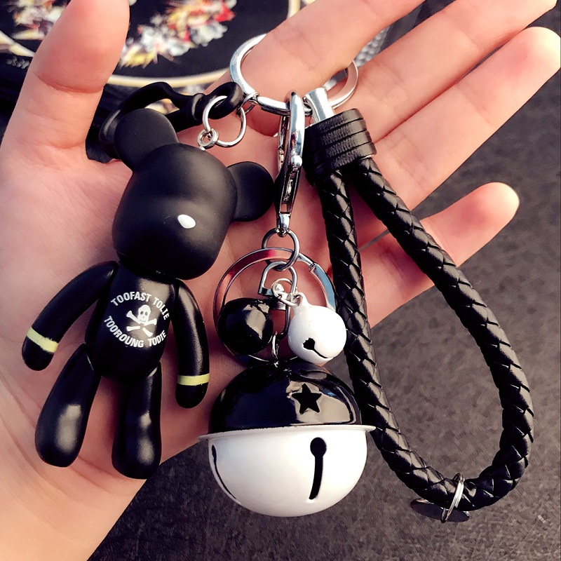 Cute Dolls Bomgom Bears Keychain Small Bell Key Ring Car Bag Charm Women Keyring Popobe Gloomy Bear Key Chains Holder Pendant