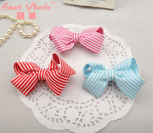15pcs/3C Summer Fashion Cute Striped Hair Bow Girls Hairpins Solid Kawaii Bowknot Hair Clips Hair Accessories Headware
