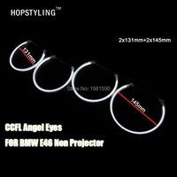 No Error Del Coche CCFL Angel Eyes de Halo Anillos kits de Faros Para BMW E46 No Proyector 2x131mm + 2x145mm car styling head lamps
