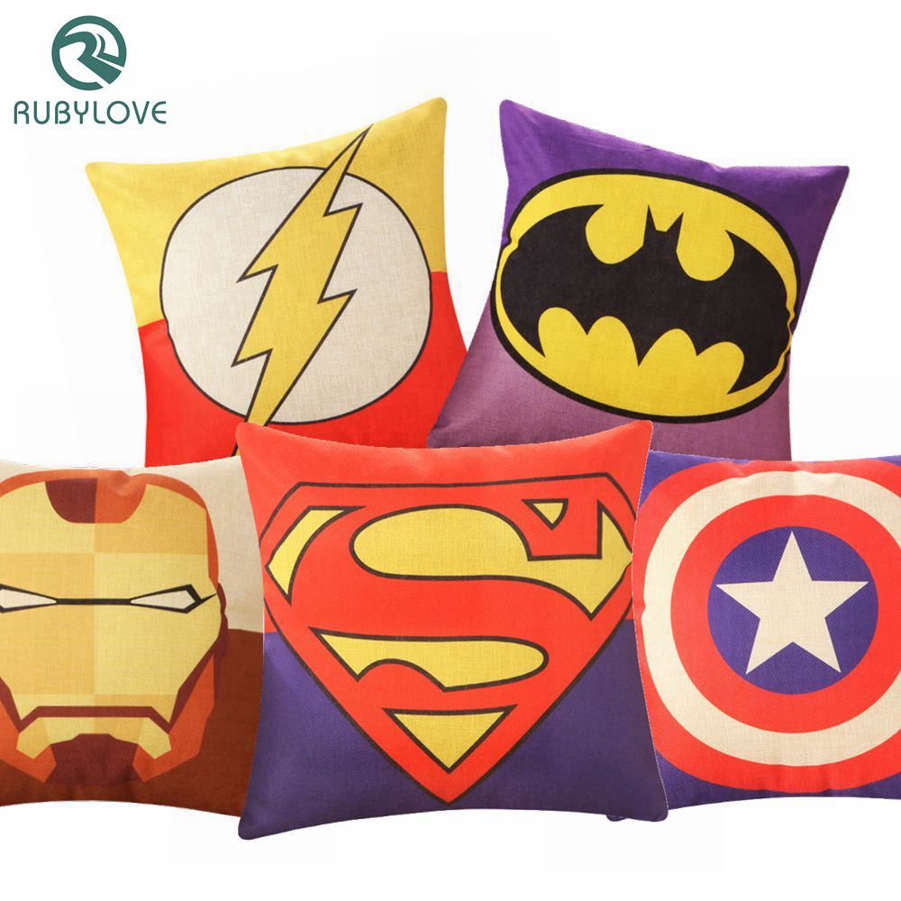 DemüTigen Rubylove Kissenbezug 45x45 Cm Cotton & Leinen Dekorative Dekokissen Digitaldruck Super Hero Stil Brief Sofa Decor Almofada