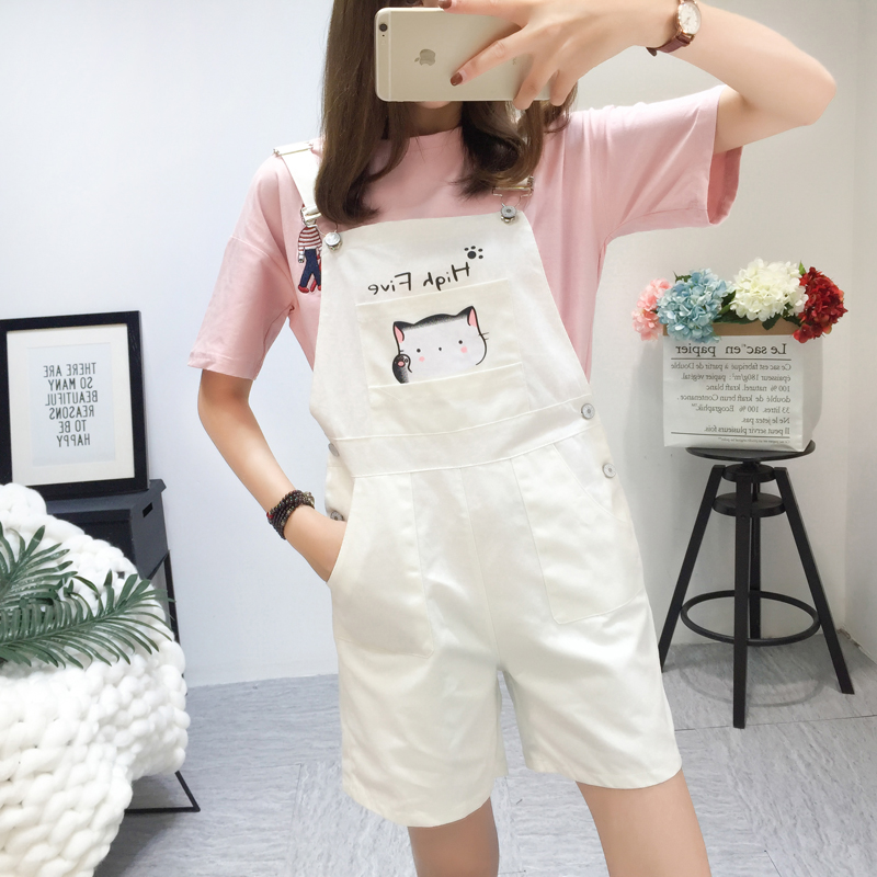 Fashion High Waist Loose Women Kawaii Overalls Shorts 2019 Summer Harajuku Female Slim Lovely Cat Pink Strap Shorts Black White