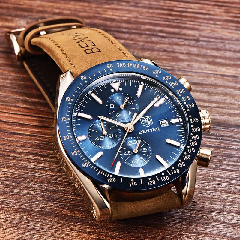 BENYAR hommes montres marque de luxe bracelet en Silicone étanche Sport Quartz chronographe montre militaire hommes horloge Relogio Masculino
