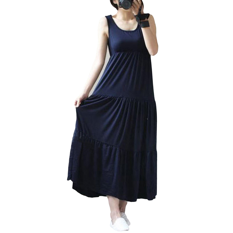 Women's Clothing Methodical Modal Women Long Dresses Korean Loose Plus Size A-line Tank Dress Summer Casual Big Swing Patchwork Female Vest Dresses Re0542
