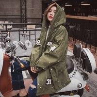 2016 Women Jacket Coat Fashion Design bomber jacket Embroidery Applique Rivets Oversize Women Coat Army Green Cotton Coat Black