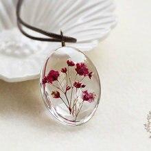 Ожерелье ручной работы с сушеным цветком кулон времени из Гипсофилы