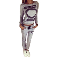 Women Two Piece Set Tracksuits Top And Pants Print Pullover Hoodies Sets Sweatshirt Long Sleeve Gray