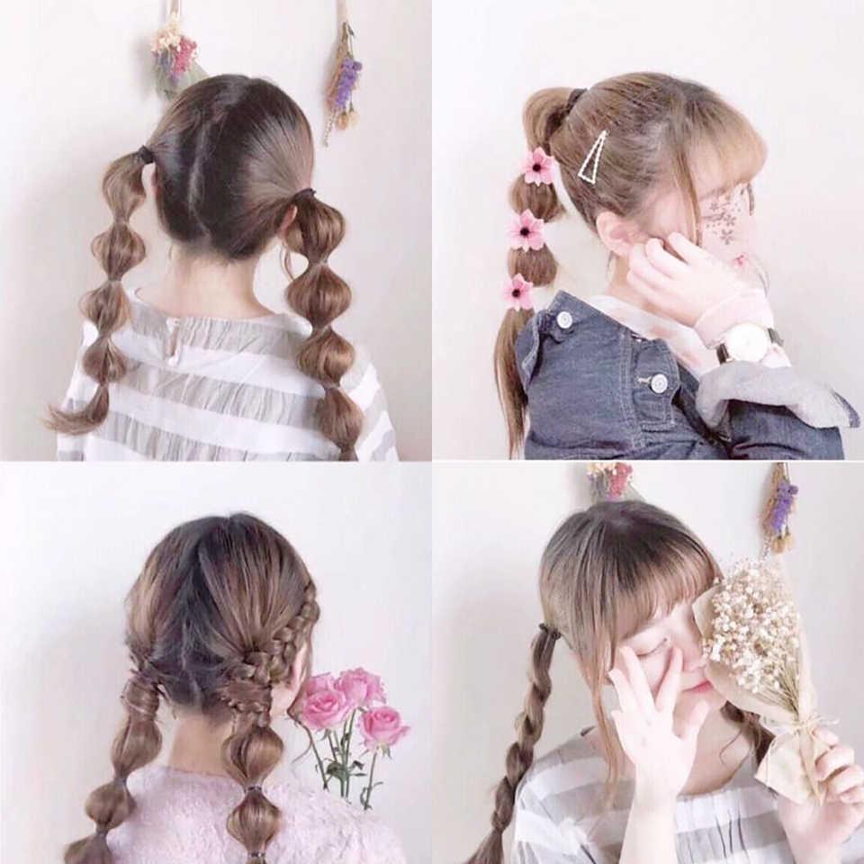 Trenza de cola de pez DIFEI, linterna, peluca bonita, coleta para niñas, cordón sintético, pelo de imitación negro/marrón, 5 tamaños