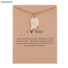 Golden Plated America I Love You Indiana Map Alloy Pendant Short necklace(China)