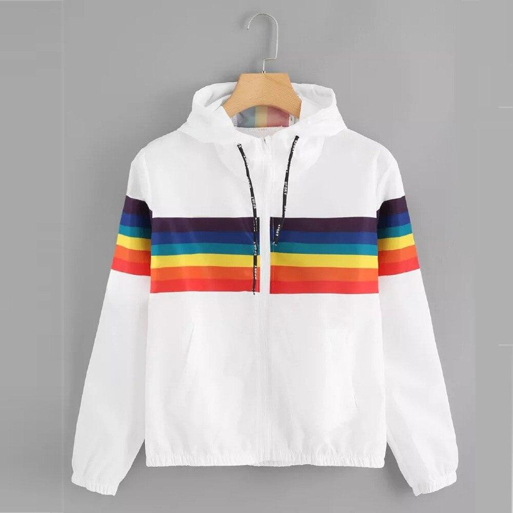 Women Autumn Jacket 2018 Womens Long Sleeve Rainbow Patchwork O Neck Sweatshirt Hooded Overcoat Blouse chaqueta mujer