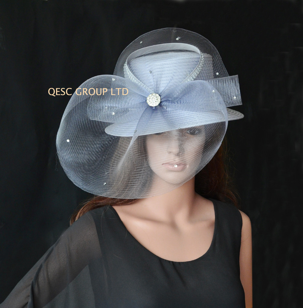 Elegant Colour Big Silver Formal Dress Hats