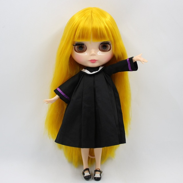 Factory Neo Blythe Doll Yellow Straight Hair Jointed Body 30cm