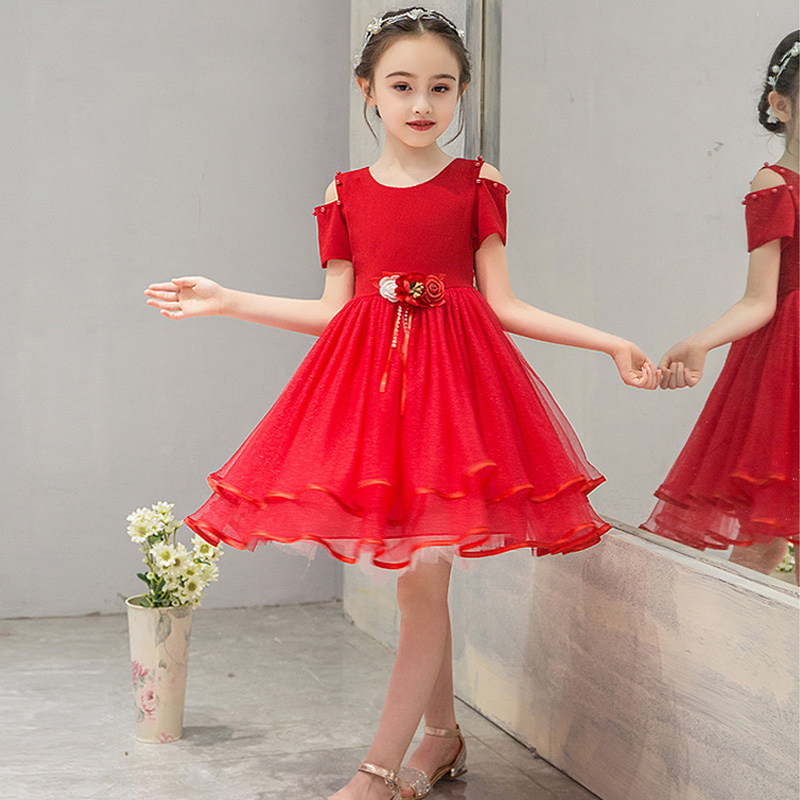 it's YiiYa   Flower     Girl     Dresses   for Wedding and Kid Party Applique Tulle Communion   Dress   O-Neck Off Shoulder 3-8 year 2019 A09