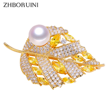 ZHBORUINI 2019 Natural Freshwater Pearl Brooch Rhineston Gold Leaf Brooch Pins Pearl Jewelry For Women Accessories Dropshipping rhinestone artificial pearl leaf brooch