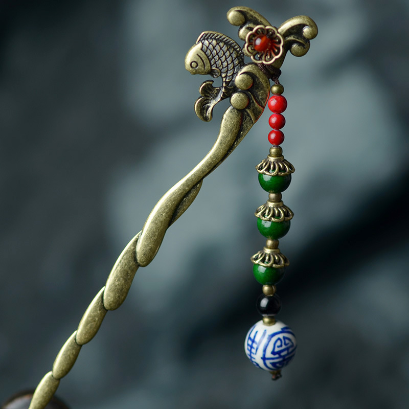 ethnic hairpin for women bronze fish flower stick charm natural stone red carnelian blue white porcelain drop vintage jewelry