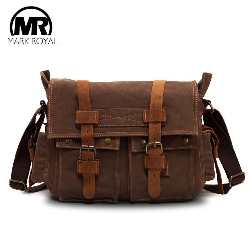 bd9f5787baf8 MARKROYAL холщовая кожаная мужская большая сумка через плечо армейская винтажная  мужская сумка-мессенджер брендовая сумка