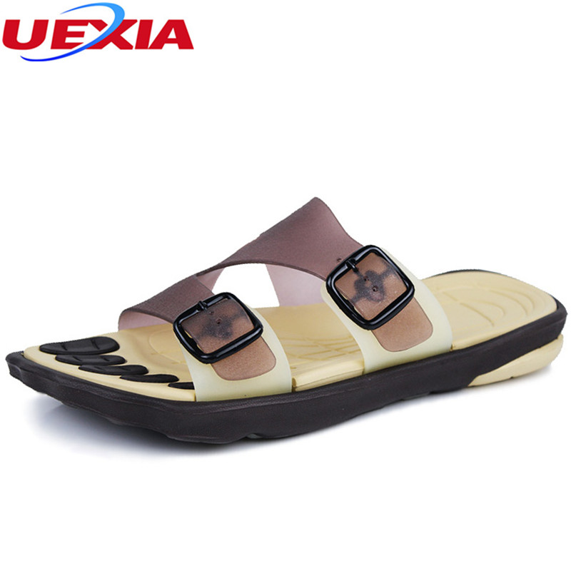 UEXIA Men Flips Flops Summer Massage Shoes Fashion Comfortable Slides Shoes Flats Slippers Beach Soft bottom Hembre Sapatenis