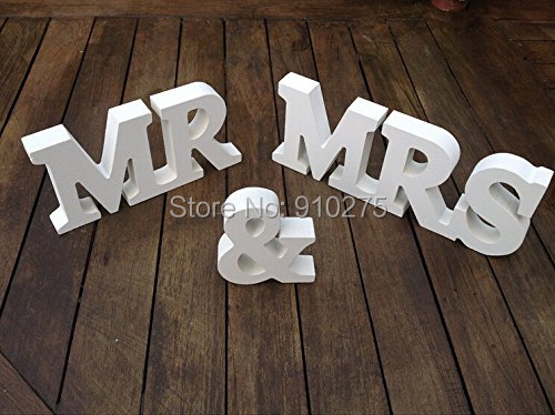 One Set Mr & Mrs Shabby Chic Wooden Letters Sign Rustic