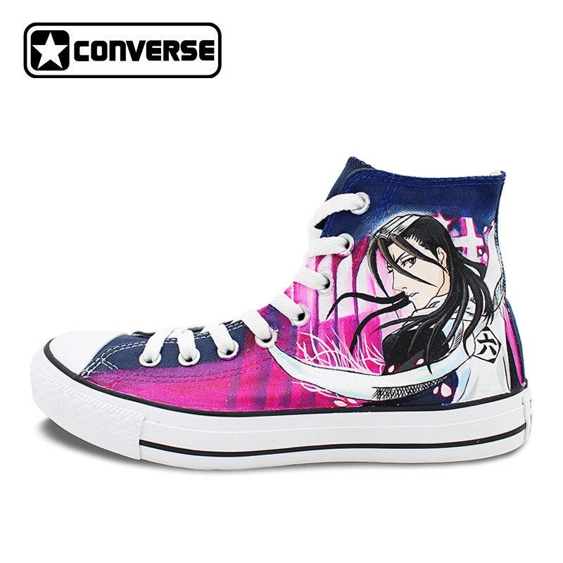 Anime Bleach Byakuya Kuchiki Design Converse All Star Women Men Shoes Hand Painted Shoes Man Woman Sneakers Christmas Gifts