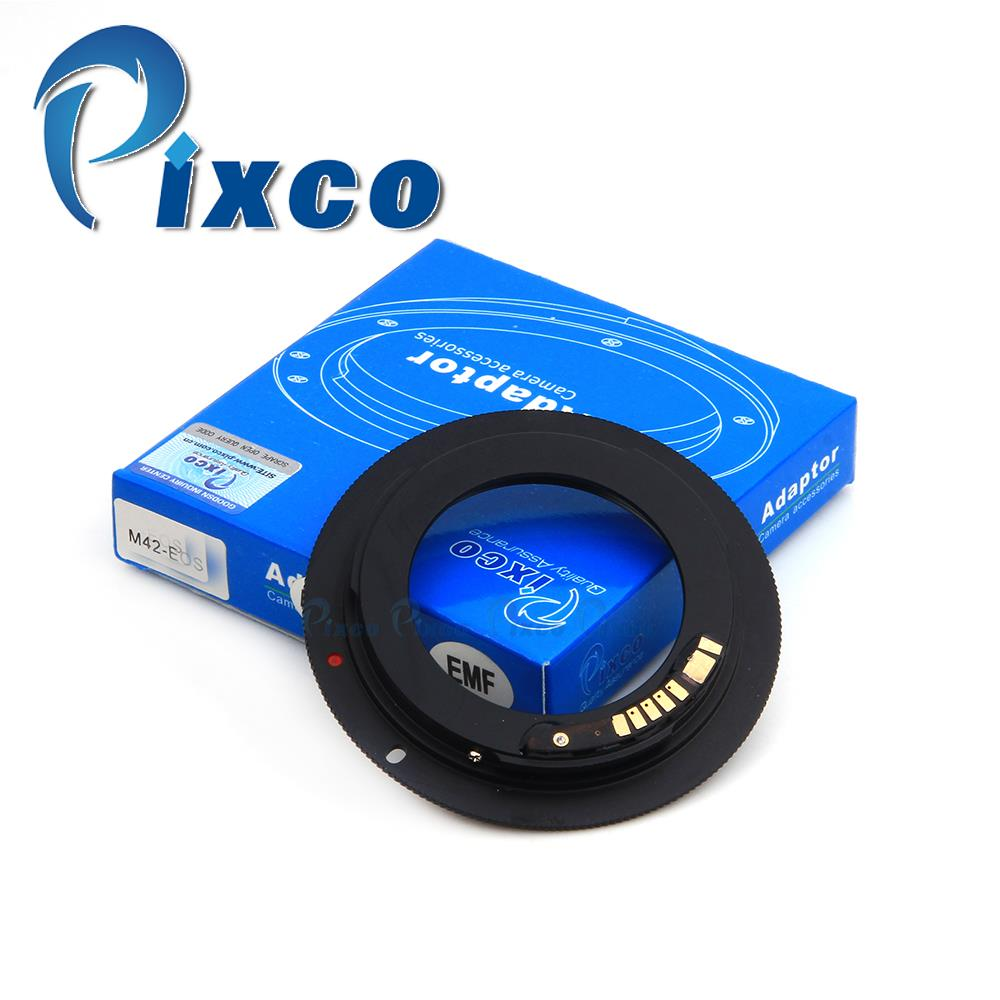 Pixco EMF AF Confirm Non-autofocus Lens Adapter Ring Suit For M42 Mount to Canon E.OS Camera 7D Mark II 5DIII 650D 60D 700D