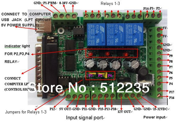 Интерфейс доска MACH3 Интерфейс доска DIY CNC 6-осевой коммутационная плата ШИМ-контроллер