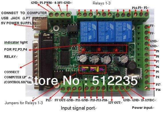 Carte d'interface MACH3 carte d'interface bricolage CNC panneau de séparation 6 axes broche PWM